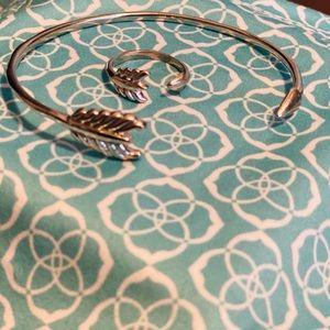 STELLA & DOT Silver Gilded Arrow Bracelet + Ring